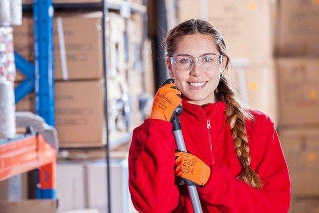Woman working in warehouse